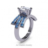 Victorian Inspired 14K White Gold 1.0 Ct Emerald Cut White Sapphire Blue Topaz Wedding Ring Engagement Ring R344-14KWGBTWS
