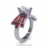 Victorian Inspired 14K White Gold 1.0 Ct Emerald Cut White Sapphire Ruby Wedding Ring Engagement Ring R344-14KWGRWS