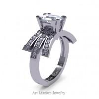 Victorian Inspired 14K White Gold 1.0 Ct Emerald Cut White Sapphire Diamond Wedding Ring Engagement Ring R344-14KWGDWS