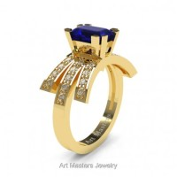 Victorian Inspired 14K Yellow Gold 1.0 Ct Emerald Cut Blue Sapphire Diamond Wedding Ring Engagement Ring R344-14KYGDBS