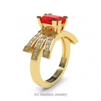 Victorian Inspired 14K Yellow Gold 1.0 Ct Emerald Cut Ruby Diamond Wedding Ring Engagement Ring R344-14KYGDR