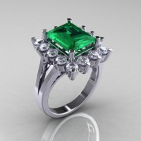 Modern Victorian 10K White Gold 4.0 CT Emerald Cubic Zirconia Engagement Ring R217-10KWGCZEM