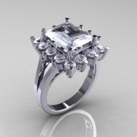 Modern Victorian 10K White Gold 4.0 CT Cubic Zirconia Engagement Ring R217-10KWGCZ