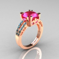 Modern Vintage 14K Rose Gold 3.0 CT Pink Sapphire Blue Topaz Solitaire Ring R102-14KRGBTPS