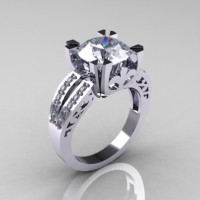 Modern Vintage 18K White Gold 3.0 CT Russian Cubic Zirconia Diamond Solitaire Ring R102-18KWGDCZ