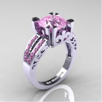 Modern Vintage 14K White Gold 3.0 Carat Light Pink Sapphire Solitaire Ring R102-14KWGLPS