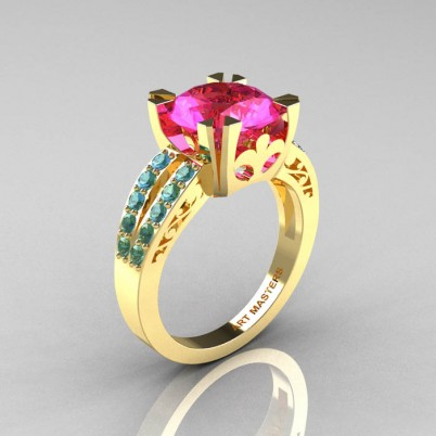 Modern-Vintage-Yellow-Gold-Pink-Sapphire-Blue-Topaz-Solitaire-Ring-R102-YGBTPS-P-402×402