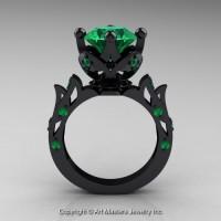 Modern Antique 14K Black Gold 3.0 Ct Emerald Solitaire Wedding Ring R214-14KBGEM