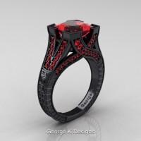 Modern Vintage 14K Black Gold 3.0 Ct Princess Ruby Engraved Engagement Ring R367P-14KBGR