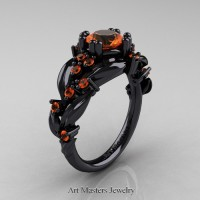 Nature Inspired 14K Black Gold 1.0 Ct Orange Sapphire Leaf and Vine Engagement Ring R340-14KBGOS