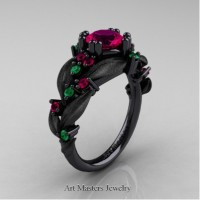 Nature Inspired 14K Black Gold 1.0 Ct Rose Ruby Emerald Leaf and Vine Engagement Ring R340S-14KBGEMRR