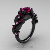 Nature Inspired 14K Black Gold 1.0 Ct Rose Ruby Light Pink Sapphire Leaf and Vine Engagement Ring R340S-14KBGLPSRR