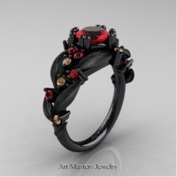 Nature Inspired 14K Black Gold 1.0 Ct Ruby Champagne Diamond Leaf and Vine Engagement Ring R340S-14KBGCHDR