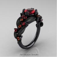 Nature Inspired 14K Black Gold 1.0 Ct Ruby Orange Sapphire Leaf and Vine Engagement Ring R340S-14KBGOSR