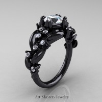 Nature Inspired 14K Black Gold 1.0 Ct White Sapphire Leaf and Vine Engagement Ring R340-14KBGWS