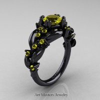 Nature Inspired 14K Black Gold 1.0 Ct Yellow Sapphire Leaf and Vine Engagement Ring R340-14KBGYS