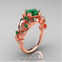 Nature Inspired 14K Rose Gold 1.0 Ct Emerald Diamond Leaf and Vine Engagement Ring R340-14KRGDEM