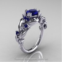 Nature Inspired 14K White Gold 1.0 Ct Blue Sapphire Diamond Leaf and Vine Engagement Ring R340-14KWGDBS