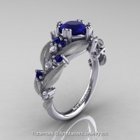 Nature Inspired 14K White Gold 1.0 Ct Blue Sapphire Diamond Leaf and Vine Engagement Ring R340S-14KWGDBS