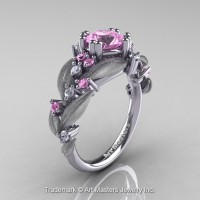 Nature Inspired 14K White Gold 1.0 Ct Light Pink Sapphire Diamond Leaf and Vine Engagement Ring R340S-14KWGDLPS