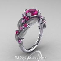 Nature Inspired 14K White Gold 1.0 Ct Pink and Light Pink Sapphire Leaf and Vine Engagement Ring R340S-14KWGLPSPS