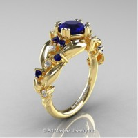 Nature Inspired 14K Yellow Gold 1.0 Ct Blue Sapphire Diamond Leaf and Vine Engagement Ring R340-14KYGDBS