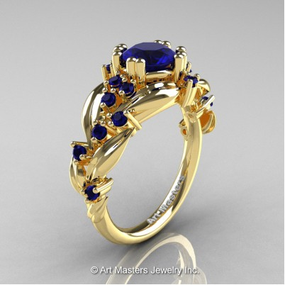 Nature-Classic-14K-Yellow-Gold-1-0-Ct-Blue-Sapphire-Leaf-and-Vine-Engagement-Ring-R340-14KYGBS-P-402×402