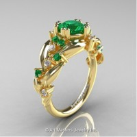 Nature Inspired 14K Yellow Gold 1.0 Ct Emerald Diamond Leaf and Vine Engagement Ring R340-14KYGDEM