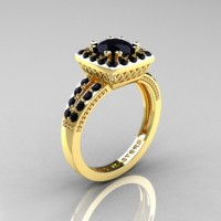 Renaissance Classic 10K Yellow Gold 1.0 Carat Black Diamond Engagement Ring R220-10KYGBD