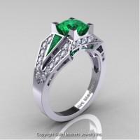 Classic Edwardian 14K White Gold 1.0 Ct Emerald Diamond Engagement Ring R285-14KWGDEM