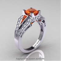 Classic Edwardian 14K White Gold 1.0 Ct Orange Sapphire Diamond Engagement Ring R285-14KWGDOS
