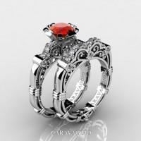 Art Masters Caravaggio 14K White Gold 1.0 Ct Orange Sapphire Diamond Engagement Ring Wedding Band Set R623S-14KWGDOS