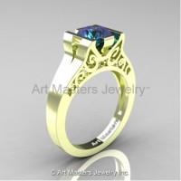 Modern Art Deco 14K Green Gold 1.0 Ct Alexandrite Engagement Ring R36N-14KGRGAL