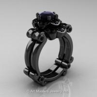 Caravaggio 14K Black Gold 1.0 Ct Black Diamond Engagement Ring Wedding Band Set R606S-14KBGBD
