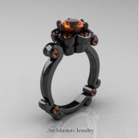 Caravaggio 14K Black Gold 1.0 Ct Orange Sapphire Engagement Ring R606-14KBGOS