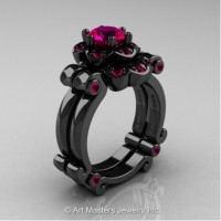 Caravaggio 14K Black Gold 1.0 Ct Rose Ruby Engagement Ring Wedding Band Set R606S-14KBGRR