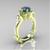 Caravaggio 14K Green Gold 1.0 Ct Alexandrite Diamond Engagement Ring R606-14KGRGDAL