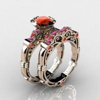 Art Masters Caravaggio 14K Rose Gold 1.0 Ct Orange and Pink Sapphire Engagement Ring Wedding Band Set R623S-14KRGPSOS