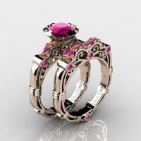 Art Masters Caravaggio 14K Rose Gold 1.0 Ct Pink and Orange Sapphire Engagement Ring Wedding Band Set R623S-14KRGOSPS