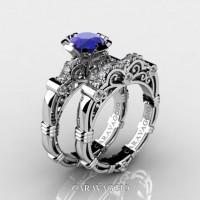 Art Masters Caravaggio 14K White Gold 1.0 Ct Blue Sapphire Diamond Engagement Ring Wedding Band Set R623S-14KWGDBS