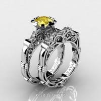 Art Masters Caravaggio 14K White Gold 1.0 Ct Yellow Sapphire Diamond Engagement Ring Wedding Band Set R623S-14KWGDYS