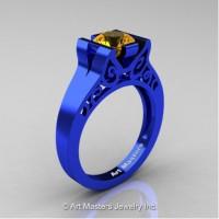 Modern Art Deco 14K Blue Gold 1.0 Ct Citrine Engagement Ring R36N-14KBLGCI