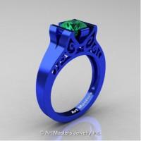 Modern Art Deco 14K Blue Gold 1.0 Ct Emerald Engagement Ring R36N-14KBLGEM