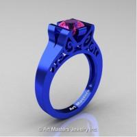 Modern Art Deco 14K Blue Gold 1.0 Ct Pink Sapphire Engagement Ring R36N-14KBLGPS