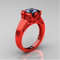 Modern Art Deco 14K Red Gold 1.0 Ct Blue Topaz Engagement Ring R36N-14KREGBT