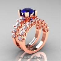 Modern Vintage 14K Rose Gold 3.0 Carat Blue and White Sapphire Designer Wedding Ring Bridal Set R142S-14KRGWSBS