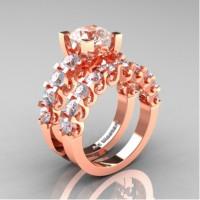 Modern Vintage 14K Rose Gold 3.0 Carat Morganite White Sapphire Designer Wedding Ring Bridal Set R142S-14KRGWSMO
