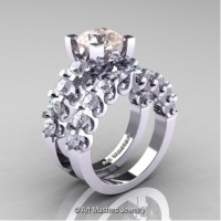 Modern Vintage 14K White Gold 3.0 Carat Morganite White Sapphire Wedding Ring Bridal Set R142S-14KWGWSMO