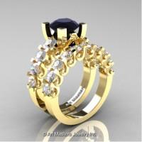 Modern Vintage 14K Yellow Gold 3.0 Carat Black Diamond White Sapphire Designer Wedding Ring Bridal Set R142S-14KYGWSBD