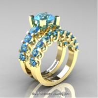 Modern Vintage 14K Yellow Gold 3.0 Carat Blue Topaz Wedding Ring Bridal Set R142S-14KYGBT